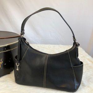 FOSSIL Classic Black Leather Shoulder Handbag
